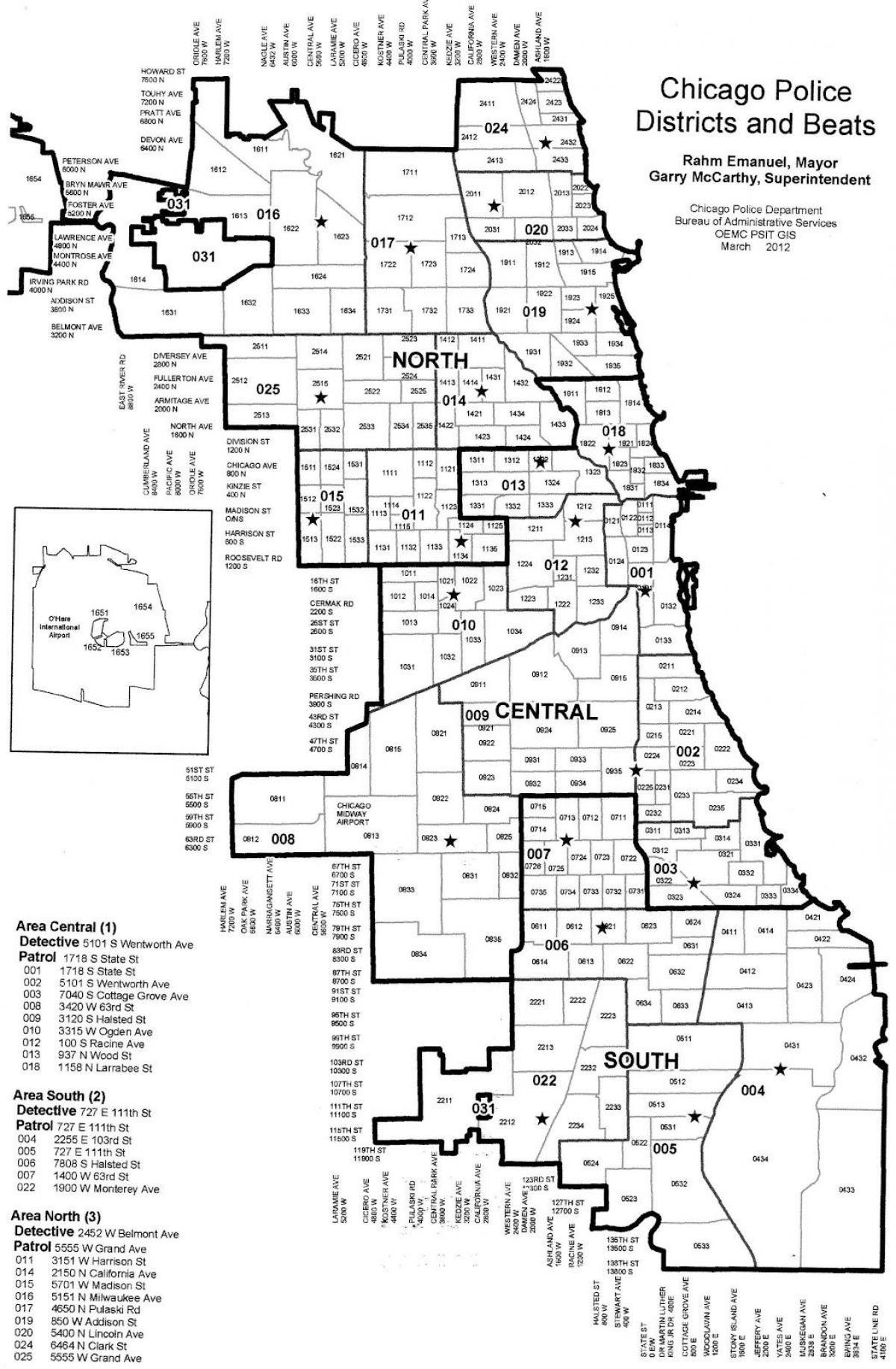Chicago Politi District Kort Politikredse Kort Over Chicago Usa