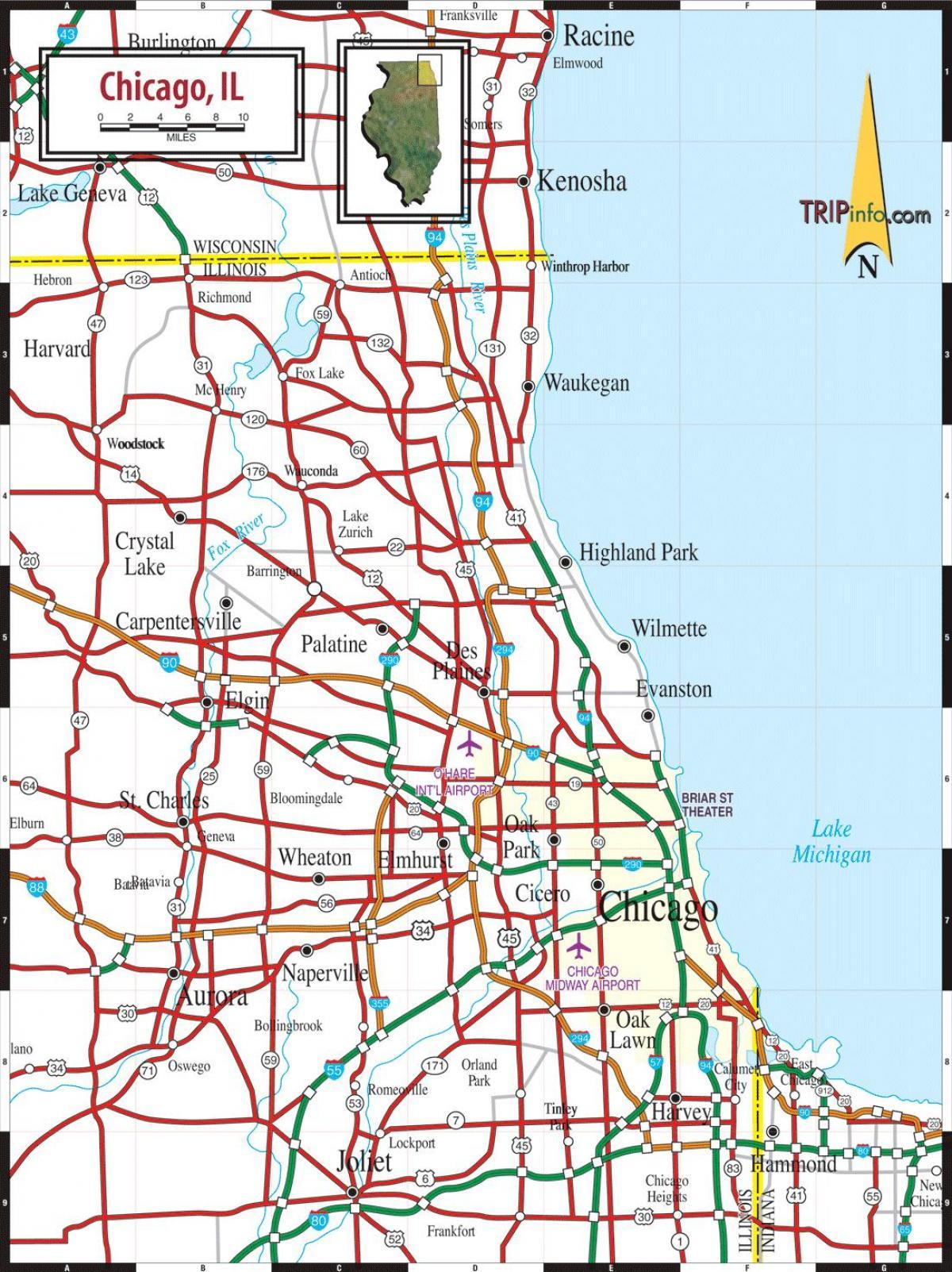 Kort Chicago Il Kort Af Chicago Il Usa